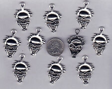 10 Silver Tone Large Crazy Clown Skull Metal Pendent Charms.- U.S. Seller - C23
