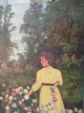 "Antique Oil Painting Portrait  Girl on Canvas 22x32"" By Agnes Henderson 1926"