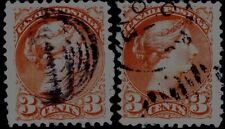 """Canada 3 Cents Small Queen - Major Re-Entry - Letters Doubled at """"Postage"""" - V/F"""