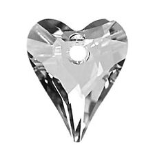 GENUINE SWAROVSKI CRYSTAL WILD HEART PENDANT 6240, CUSTOM COATED SILVER, 17 MM