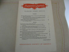 1971 Renaissance Quarterly Christopher Marlowe, Andrew Marvell, Sidney, Others