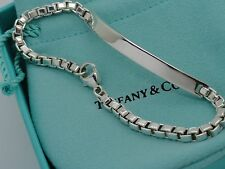 "Tiffany & Co. Sterling Silver 6 3/4"" Venetian Link ID Bracelet in Pouch & Box"
