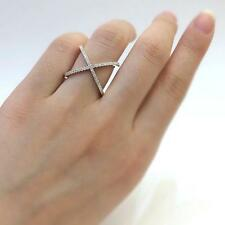 Silver Criss Cross CZ X Ring Micro Pave Knuckle Stacking Thin Ring Size 6