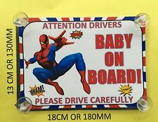 Superheroes Spiderman  Baby On Board Car Laminated Sign