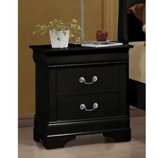 Louis Philippe Night Stand in black with Antique Brass Metal Handle Nightstand
