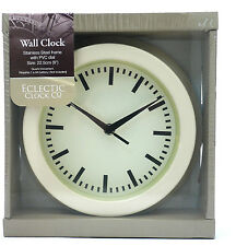 Eclectic Clock Co. Company 9 Inch Stainless Steel Frame Ivory Wall Clock ECC011