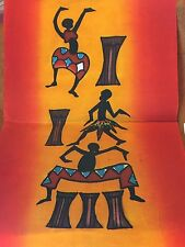 "Fabric African Dancers & Drums Kenya Painted Art on Batik Cotton Square 10""x18"""