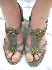 Guy Laroche Size 37 or 6.5 Green Stud Wedge Summer Sandal