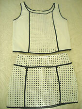 PHILOSOPHY OF PAEK P.O.P.- WHITE PERFORATED FAUX LEATHER 2-PC SKIRT w. TOP - SM