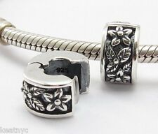 CLIP with FLOWERS CHARM Sterling Silver .925 for European Bracelet 705