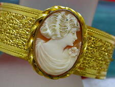 Vintage Signed Napier Gold Tone Filigree Carved Shell Cameo Bracelet
