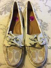 $148 NEW COACH Richelle Signature Boat Shoes WhiteParchment Leather Sz 8.5