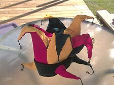 Preloved Red Green Velvet Padded Jester Costume Hat Pointy Edges Bells Flexible
