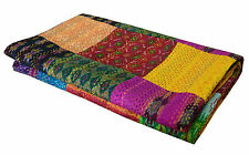 Ikat Seda Hecha A Mano Patchwork KANTHA QUILT THROW Manta Gudari Doble (SINGLE)