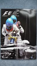 The Official Program for the 2001 British Grand Prix. Excellent Condition