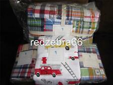 Pottery Barn Kids Madras Full Quilt Shams Firetruck Sheet Set 7-pc Navy-Multi