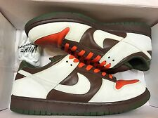 2005 Nike Dunk Low Pro SB Oompa Loompa Chocolate Brown White Green Orange Sz 11