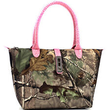 Dasein Twist Lock Tote Bag in Realtree® Camouflage-Faux Croc Pink Trim