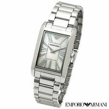 NEW EMPORIO ARMANI AR2037 RECTANGLE MOP DIAL SILVER STAINLESS STEEL WOMENS WATCH