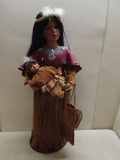 VANESSA RICARDI SPECIAL EDITION NATIVE AMERICAN INDIAN PORCELAIN DOLL MOM & BABY