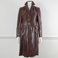 MARNI Brown Leather Long Sleeve Knee Length Jacket Coat It 42 UK 10