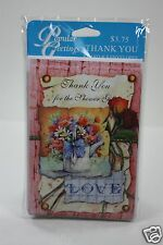 8 CARDS 8 ENVELOPES THANK YOU FOR THE SHOWER GIFT NOTE FLOWERS WATER CAN