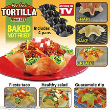 Tortilla pan set of 4 TACO SALAD SHELL PERFECT BOWL MAKER Baking MOLD non stick