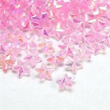 PACK OF APPROX. 200 IRIDESCENT PINK STAR  BEADS - PLASTIC - 6mm...........B278 *