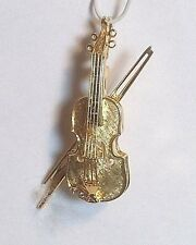 NOS 14k Yellow Gold w/Diamond/Sapphire Accent Violin Pin/Brooch/Pendant