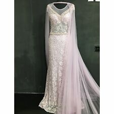 Pearl Wedding Dress Prom Evening Party Ball Gown Size 12/14 Bridesmaid Cape