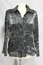 Notations - M - NWT - Shimmery Steel Silver Gray - Crinkle Fixed Camisole Blouse