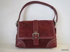 COACH Suede & Leather Burgundy White Top-Stitched Buckle Handbag Purse EUC