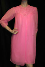 S Pink Sheer Nylon Chiffon Vtg 60s Snowdon 634 Peignoir 2 Pc Nightgown Gown Robe