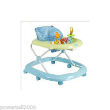 C2 Single Baby Blue Stripe Plastic Collapsible Comfortable 6 Wheels Baby Walker