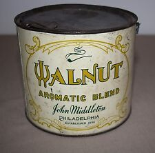 ANTIQUE JOHN MIDDLETON WALNUT AROMATIC BLEND TOBACCO TIN WITH TAX STAMP