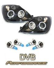 FORD FIESTA MK6 01-08 nero TWIN ANGEL EYE Proiettore Fari + H1 powerbulbs