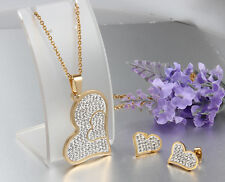 Set Stainless Steel Gold Love Heart exquisite zircon Necklace Pendant & Earring