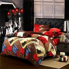 Mingjie The Scenery Along The Way Grey 3D Bedding Sets 4PCS Queen Size Bed Linen