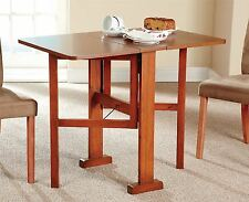 Gateleg Folding Table 4 Persons Wood Cherry Veneer Finish Kitchen Dining Room
