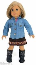 """Washed Denim Shirt & Native American Skirt fits 18"""" American Girl Doll Clothes"""