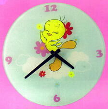 "TWEETY Looney Tunes Cartoon Character 12"" Diameter Battery GLASS WALL CLOCK New"