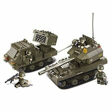 Sluban M38-B0288 Joint Military Drill Set Blocks Army Toy -Gun Carriage & T-90