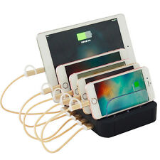 Charging Station for Multiple Phones 5-Port USB Charger Organizer Stand Holder %