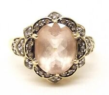 Vtg 14K Gold Pink Morganite Diamond Ring Sz 6.75 Estate Signed Cocktail