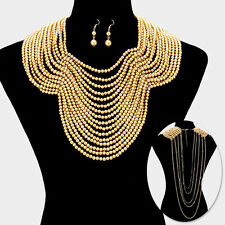DESIGNER INSPIRED GOLD DRAPED MULTI STRAND FAUX PEARL BIB STATEMENT NECKLACE SET