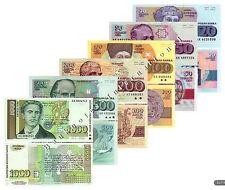 COMPLETE BULGARIA 6 NOTE SET 20 50 100 200 500 1000 LEVA 1990s P 100-105 UNC