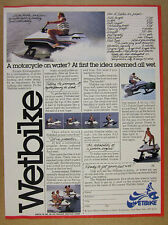 1978 Wetbike watercycle PWC Personal Water Craft color photos vintage print Ad