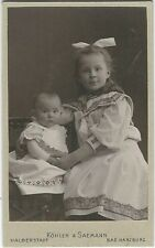 CUTE LITTLE GIRL PROTECTIVELY POSES WITH HER BABY BROTHER/SISTER (CDV)