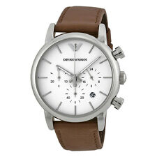 Emporio Armani Chronograph White Dial Brown Leather Mens Watch AR1846