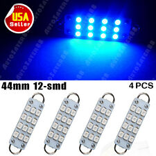 "4 X Ultra Blue Rigid Loop Festoon 1.73"" 44mm 12-SMD LED Light Lamps 561 562 567"